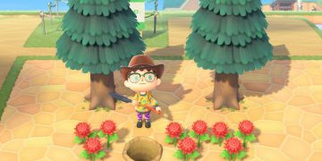 How to plant trees on hard surfaces (stone, wood) with a bug in Animal Crossing New Horizons