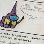The viral drawing of a child who turns a character from Among Us into an Easter Nazarene