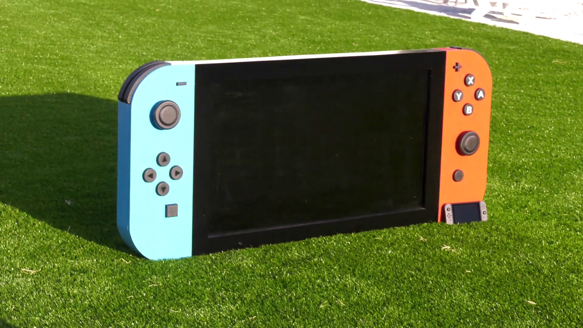 Create the world's largest functional Nintendo Switch and show the process step by step
