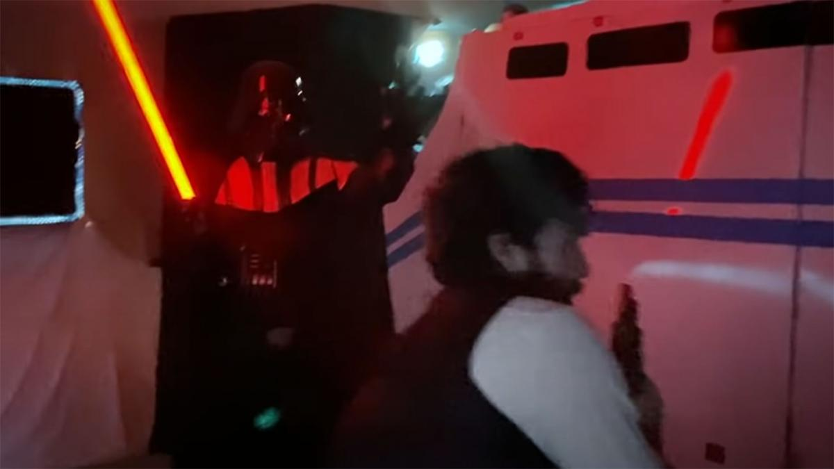They create a homemade version of the Disneyland Star Wars simulator for their daughter's birthday, and it's amazing